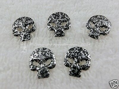 25 Hotfix Metall Formen Bügelnieten Totenkopf Schwarz Karostonebox
