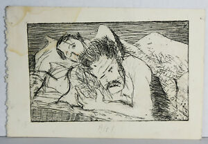 "8"" Vintage Print Etching Jaime Hennon Nude Men Sleeping Gay Interest Wall Art"