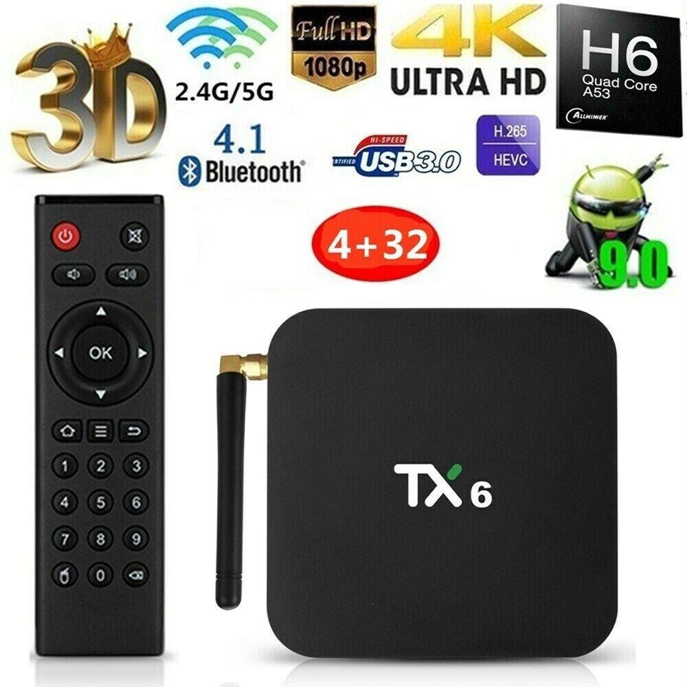 TX6 TV Box 4GB + 32GB Ultra HD Tanix Blutooth BT5.0 Wifi 2.4GHz + 5.8GHz 6K H.26 32gb 4gb blutooth box tanix tx6 ultra wifi