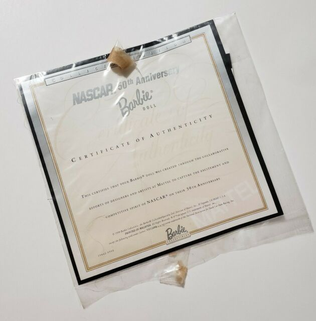 MATTEL 50TH NASCAR ANNIVERSARY BARBIE DOLL CERTIFICATE OF AUTHENTICITY COA ONLY