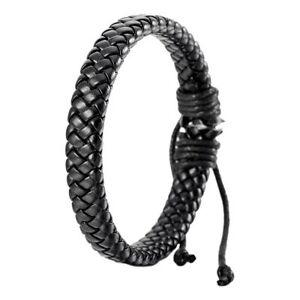 Unisex-Men-Women-Fashion-Leather-Bracelet-Bangle-Cuff-Rope-Black-Surfer-Wrap