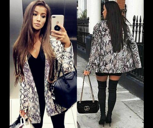 Women Oversized Jacket Longline Vintage Animal Print Snake Button  Ladies Blazer