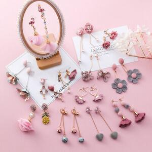 Trendy-Japanese-Korean-Cute-Earrings-Simple-Pink-Fabric-Flower-Dangle-Earrings