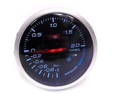 60mm Universal Ahumado cara Turbo Boost Gauge -1 a 2 Bar de presión Luz Blanca