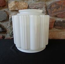 Vintage White Glass Art Deco Skyscraper Light Fixture Glass Shade Globe