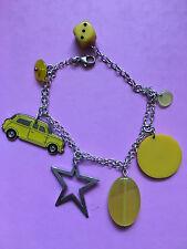 Yellow theme car star dice charm bracelet