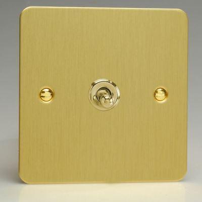 Varilight 1 Gang 10 A 1-2 Way Dolly Bascule Interrupteur de lumière ultra plat brossé Laiton