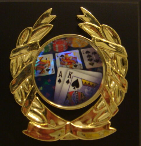 POKER HAND CARD PLAQUE 5 X 7 TEXAS HOLD/'EM PLAQUE COLORFUL CARD HAND INSERT