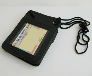BLACK-100-Leather-ID-CARD-Holder-Neck-Travel-Pouch-Wallet-Thin-front-pocket-NR