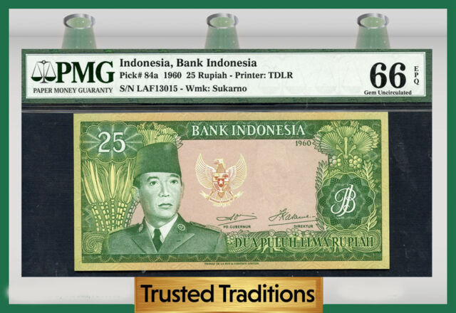 TT PK 84a 1960 INDONESIA 25 RUPIAH PMG 66 EPQ GEM POP ONE FINEST KNOWN!
