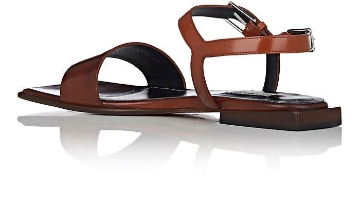 BALENCIAGA Square Toe Leather Sandals in in in Terre De Sienne Brown Size 37.5  37 1 2 4cf211
