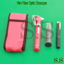 Red LED Light Mini Fiber Optic Pocket Ent Medical Otoscope + Free Penlight