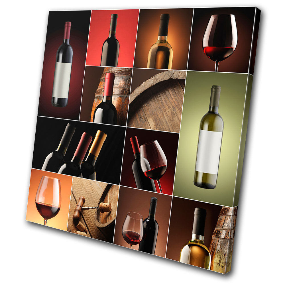 Food Kitchen Wine collage drink  SINGLE TOILE murale ART Photo Print