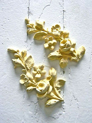 FURNITURE ARCHITECTURAL APPLIQUE ROSE VINE-WOOD & RESIN-STAINABLE-PAINTABLE-NEW!
