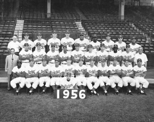 1956 DODGERS 8X10 TEAM PHOTO JACKIE ROBINSONS LAST YEARS IN THE THE MAJORS