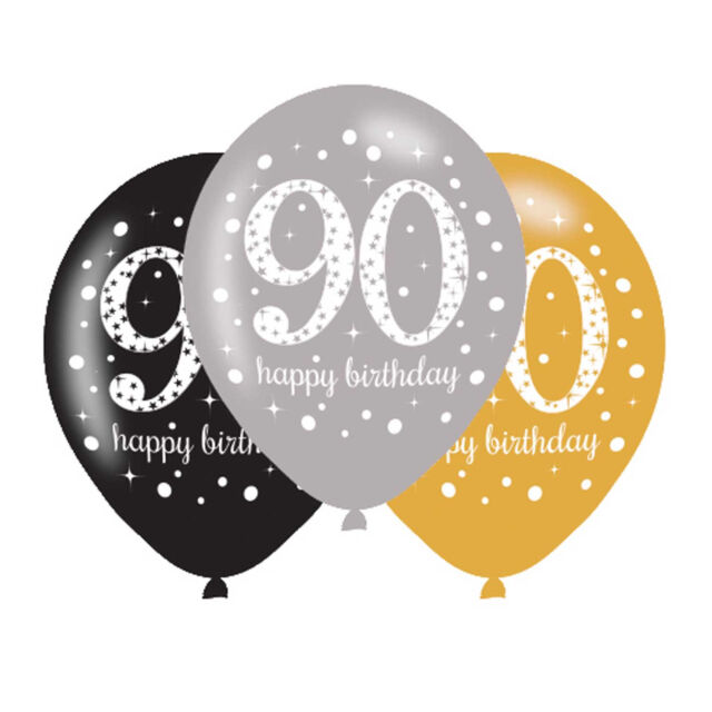 90th Happy Birthday 11 Latex Balloons Gold Silver Black Triple Colour Pack