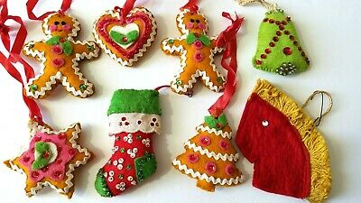 Vintage Felt Christmas Ornaments 8 Green Gold Beaded Mid ...