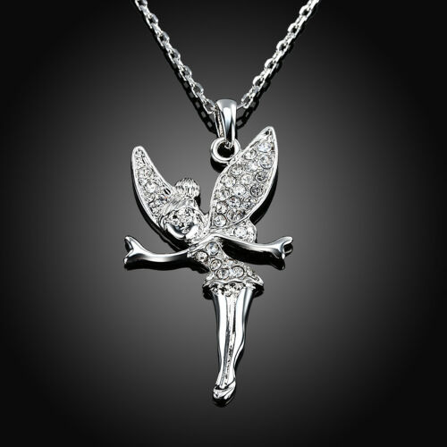 Rose Gold Platinum Plated Necklace Women/'s Pendant Tinkerbell AAA Zirconia B333