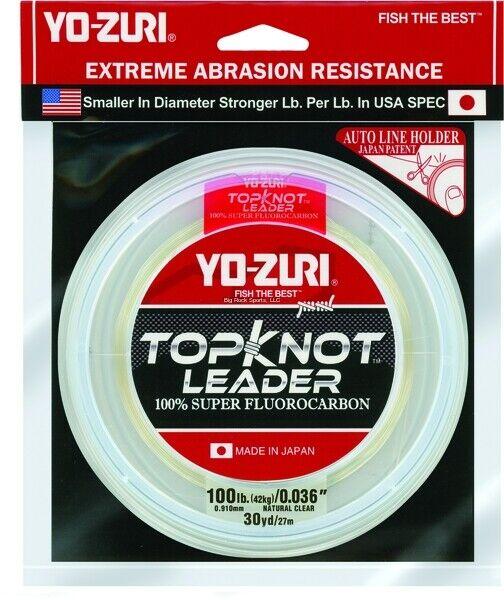 New Yo-Zuri Topknot Flugoldcarbon Leader 100Lb 30yd Clear TKLD100LBNCL30YD