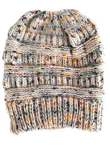 Women Beanie Tail High Bun Ponytail Knit Beanie Skull Winter Slouchy Hat Ski Cap