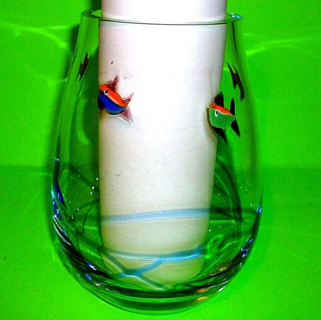 Glass Orange Fish Bowl Blue Swirl Vase Utensil Snack Holder Home
