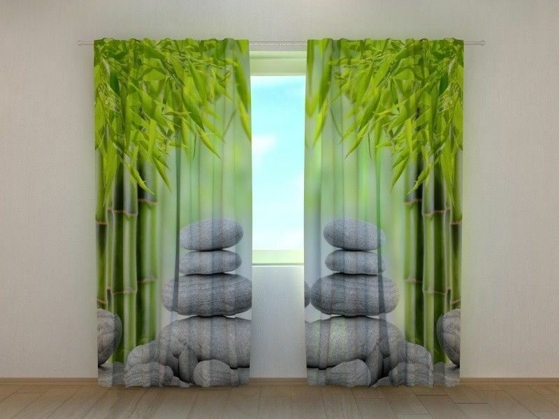 Window Curtain Bamboo Bamboo Bamboo and Stones 2 Wellmira Ready to Hang 3D Printed Nature 252fa8