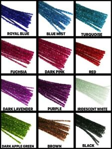 """12"""" Metallic TINSEL ( PIPE CLEANER ) 6MM STEMS Choose Color & Package Amount"""