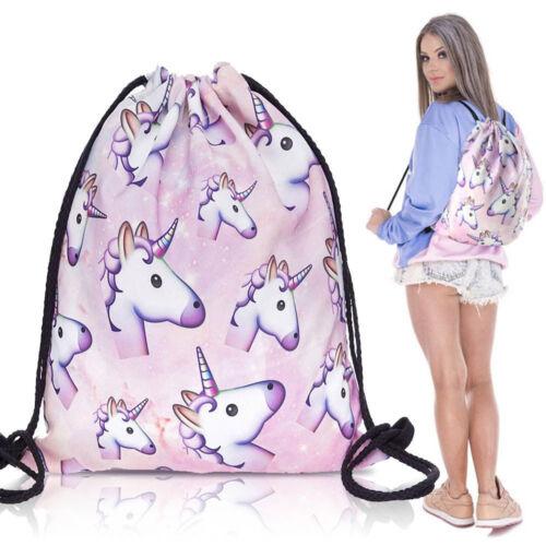 School Drawstring Book Bag Sport Gym Swim PE Dance Backpack for Girls Kids