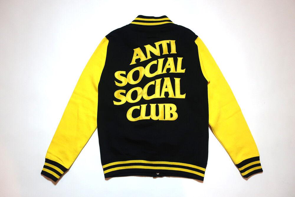 ANTI SOCIAL Social CLUB Drop Out Letterman Varsity Jacket Sweatshirt Yellow M