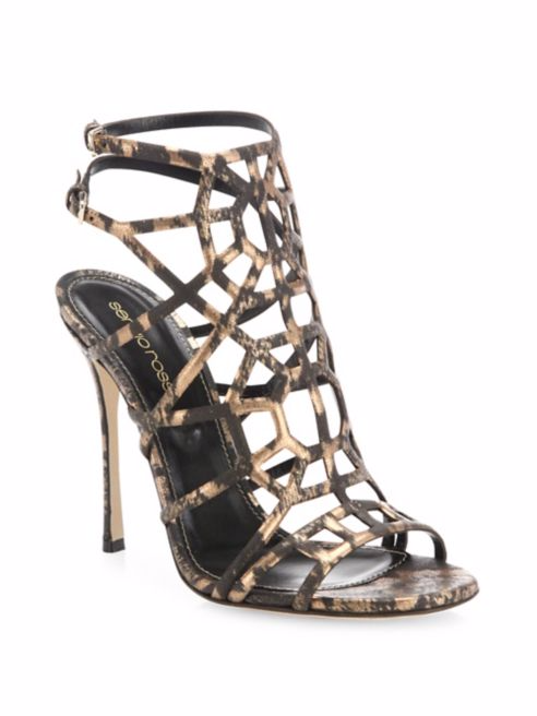 Sergio Rossi Puzzle Leather Cage Sandals 38 MSRP  979.00