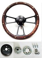 1970-1977 Ford F-series Truck Steering Wheel Dark Pine Wood Black 14 Ford Cap