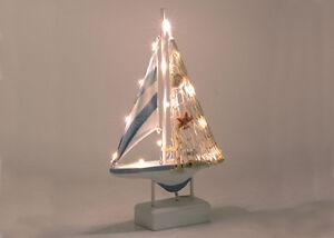 Barca c luci led piccola legno 18 5x5 5xh.31 5 cm decorazione mare