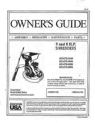 Duerr    Chipper   Shredder    Owner s    Guide    Manual    for 5   8 HP Models   eBay