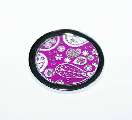 coin medallón cadena colgante soporte moneda collar trazos pastel + Patrón paisley