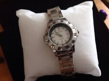 Water Resistant Watch With Link Chain Strap In Silver Tone & White Dial
