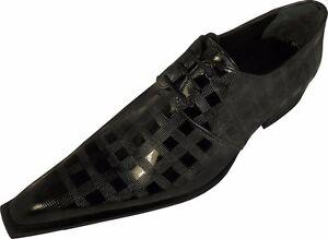 100-CHELSY-Italiano-Diseno-top-Zapato-hecho-a-mano-Tablero-de-Ajedrez-Negro