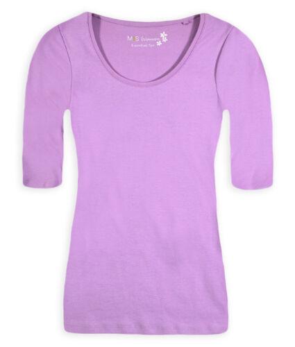 Femmes Uni Haut femme à manches longues m/&s T Shirt Taille UK 8 10 12 14 16 18 20 22