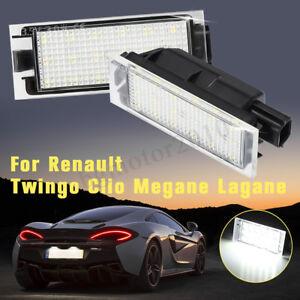 2x-12V-LED-SMD-E4-Feux-Eclairage-Plaque-pour-Renault-Twingo-Clio-Megane-Lagane