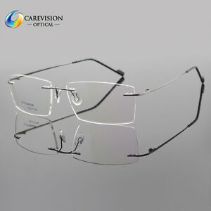 7f9cc64904 Image is loading Mens-Rimless-Titanium-Eyeglass-Frames-Clear-Lens-Titanium-