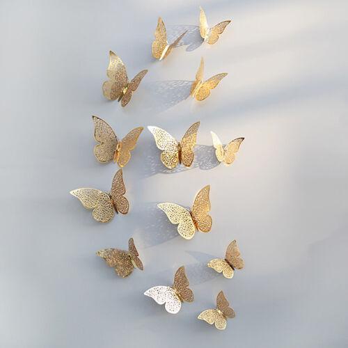 12pcs 3D Butterflies Hollow Wall Stickers For Kids Rooms Decals Home Decor LH