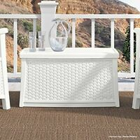 Stylish White Resin Wicker Coffee Table With Storage Outdoor Patio Furniture on sale