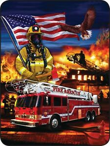 45x60-Super-Soft-Blanket-Heroes-On-Parade-Fire-Fighter-Man-Throw-Faux-Fur-Fleece