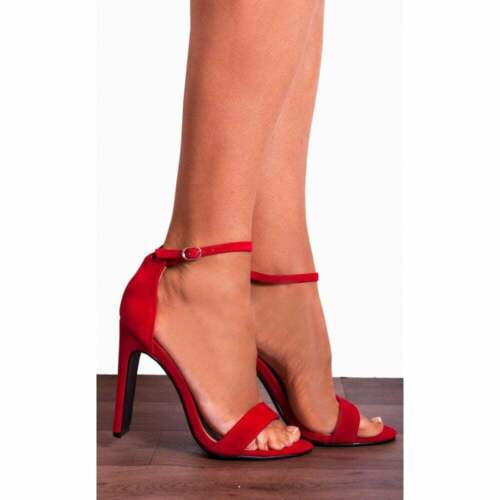 Red Stilettos Ankle Strap peep Toes Strappy Sandals High Heels Shoes Size 3-8