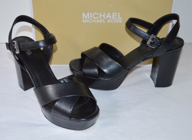 2f375470b397 New  150 Michael Kors Divia Platform Black Leather Block Heel Sandal sz 7.5