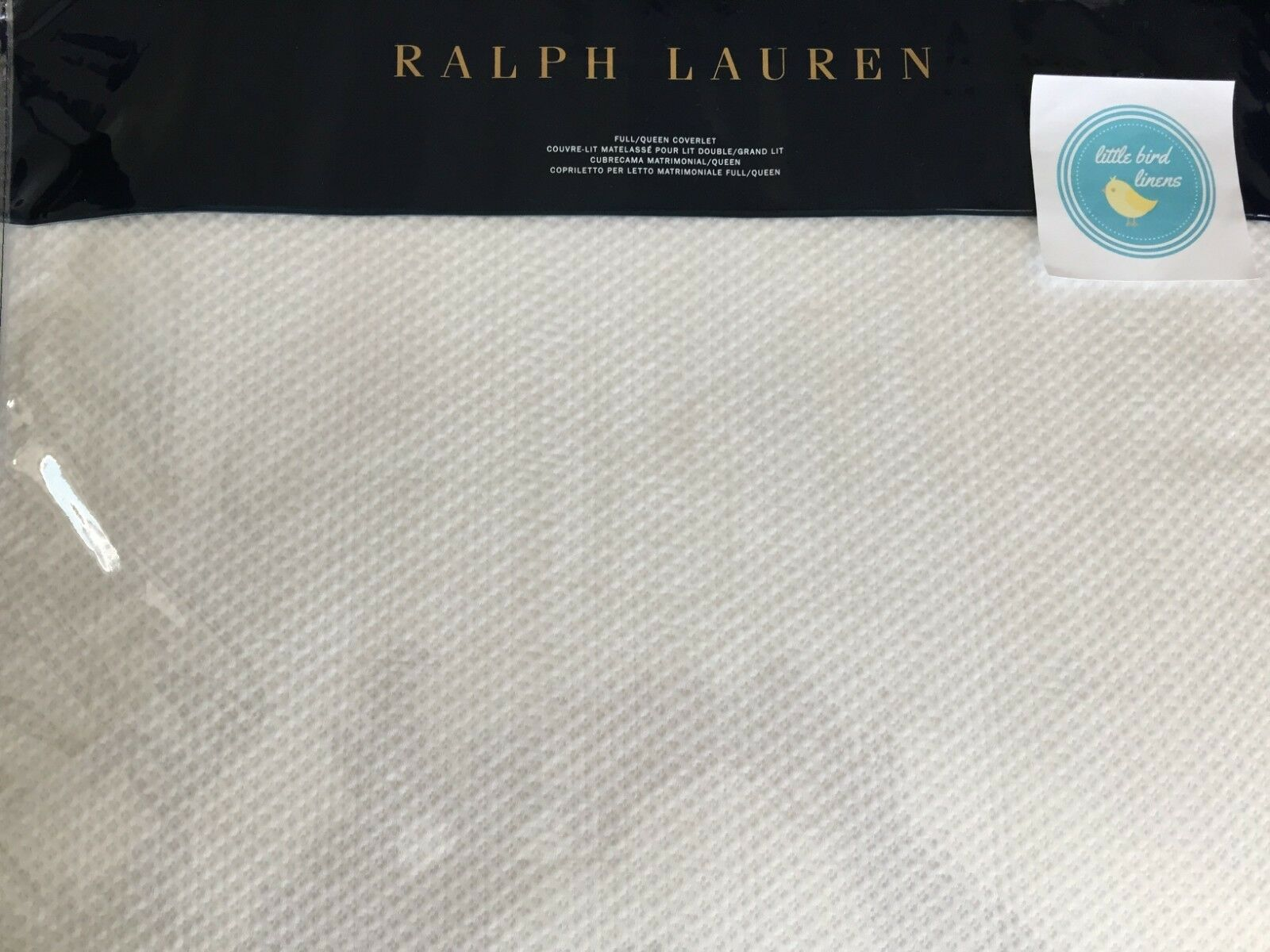 RALPH LAUREN ADELAIDE  bianca Full QUEEN COVERLET- New Matelasse Cotton