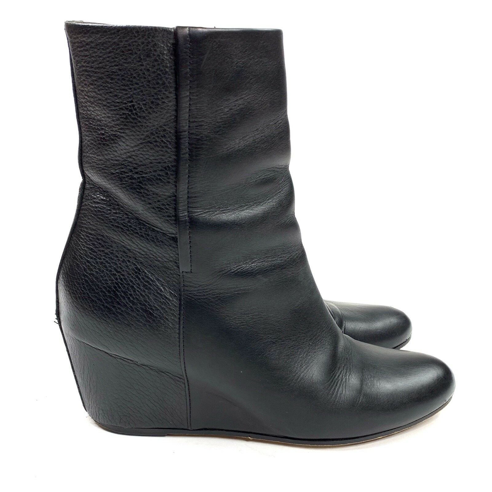 Vince Michela Wedge Booties Womens Size 9.5 EU41 Black Leather Covered Wedge