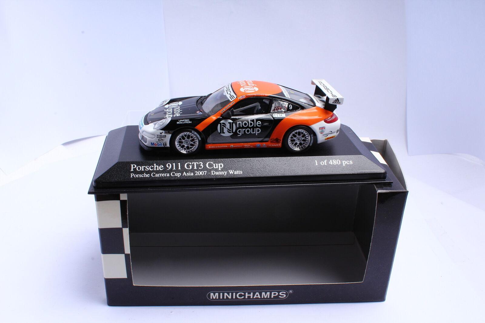 MINICHAMPS 400076409 Porsche 911 GT3 Cup Asia 2007 N Noble Group 1 43 OVP