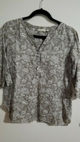 Cabbages & Roses Uniqlo Linen 3/4 Sleeve Floral To