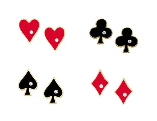 Hearts NEW Rockabilly Earrings Playing Card Suit Earrings Diamonds Clubs