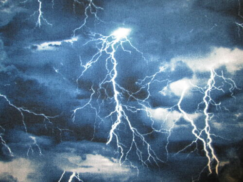 Lightning Strikes Sky Blue Storm Cotton Fabric 15 1//2 IN SCRAP CUT